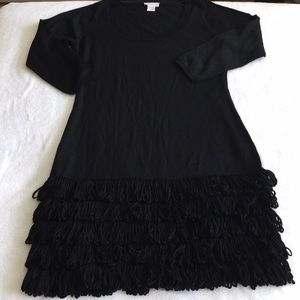 Soft Surroundings Black Long Sleeve Fringe Dress